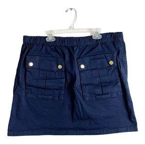 J. Crew Elastic Waist Cargo Pocket Skirt Navy Blue